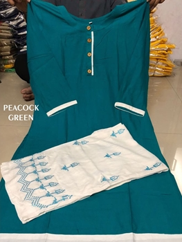 Picture of Peacock Green Designer Heavy Rayon Stitched XL Size Plazo Suit