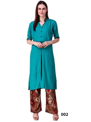 Picture of 002 Sea Green Rayon Top With Printed Plazo