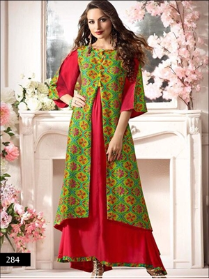 Picture of 284 Red and Green Designer Stitched Gown