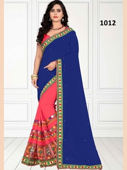 Picture of 1012 Blue and Deep Pink Designer Georgette Saree