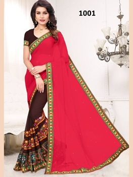 Picture of 1001 Red and Coffee Designer Georgette Saree