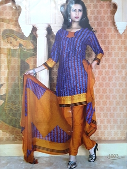 Picture of 1003 Royal Blue and Maroon Printed Salwar Suit