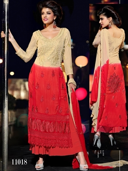 Picture of 11018 Beige and Red Designer Chiffon Straight Suit