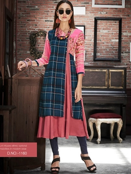 Picture of 1160 Dark Blue and Pink Designer Gown Style Stitched Kurti