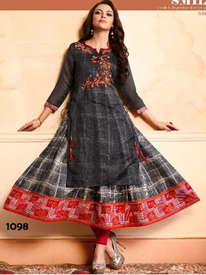 Picture of 1098 Black Designer Stitched Kurti