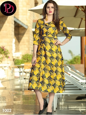 Picture of 1002 Yellow and Black Designer Stitched Kurti
