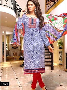 Picture of 1022 Blue and White Designer Straight Suit