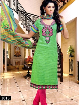 Picture of 1013 Parrot Green Designer Straight Suit