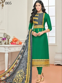 Picture of 805 Green Designer Cotton Straight Suit