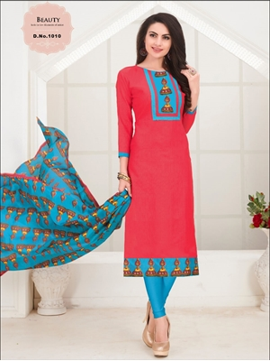 Picture of 1010 Tomato Red Designer Salwar Suit
