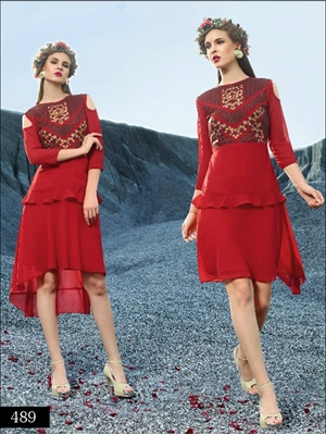 Picture of 489 Red Designer Faux Georgette Stitched Kurti