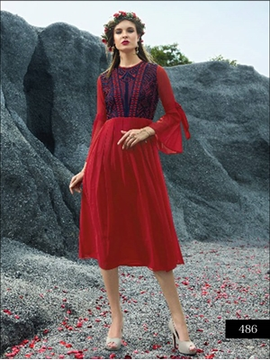 Picture of 486 Red Designer Faux Georgette Stitched Kurti