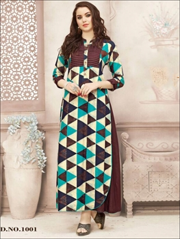 Picture of 1001 Coffee and Multicolor Gown Style Stitched Kurti