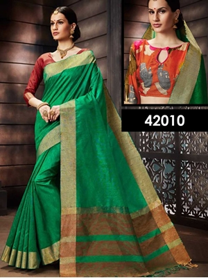 Picture of 42010 Green Designer Function Wear Saree