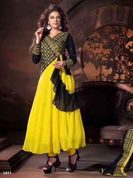 Picture of 1411 Yellow and Black Designer Anarkali Suit
