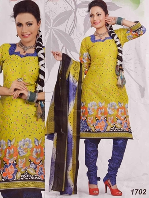 Picture of 1702 Yellow Printed Salwar Suit