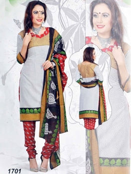 Picture of 1701 White Printed Salwar Suit