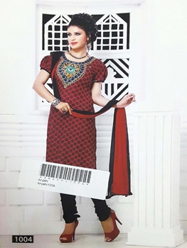 Picture of 1004 Red Designer Printed Salwar Suit