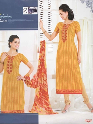 Picture of 1699B Yellow and Orange Cotton Straight Suit