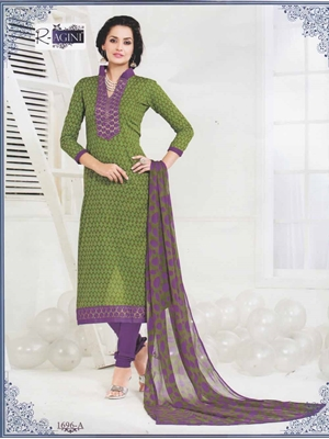 Picture of 1696A Green and Purple Cotton Straight Suit
