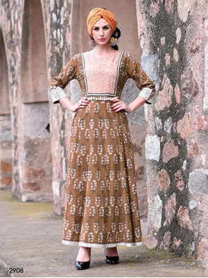 Picture of 2908 Brown Designer Trendy Kurti