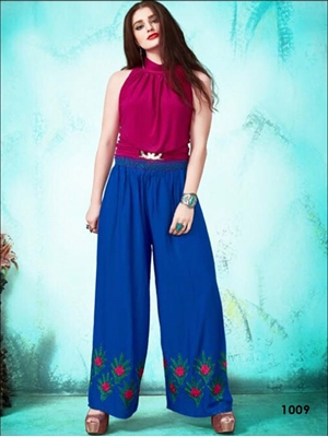 Picture of 1009 Royal Blue Party Wear Stitched Palazzo
