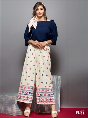 Picture of 97 Cream Printed Palazzo Pant