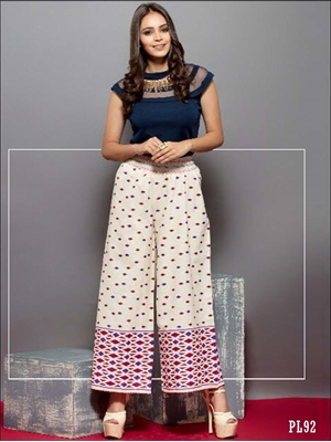 Picture of 92 Cream Printed Palazzo Pant