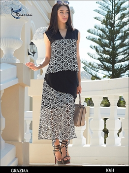 Picture of 1081 White Designer Georgette Kurti