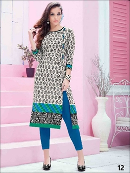 Picture of 12 White and Black Printed Kurtis