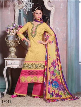 Picture of 17018Light yellow & Pink Designer Plazo Suit
