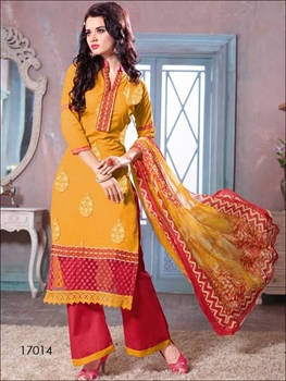 Picture of 17014Yellow & Red Designer Plazo Suit