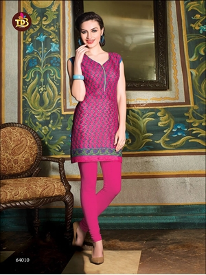 Picture of 64010Magenta and Green Printed Stitched Kurtis