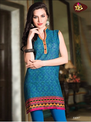 Picture of 64007Blue and green Printed Stitched Kurtis