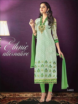 Picture of 54003Light Green Designer Straight Suit