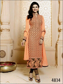 Picture of 4834Light Salmon and Brown Designer Straight Suit