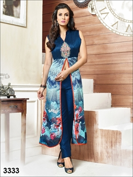 Picture of 3333Dark Midnight Blue Designer Party Wear Kurti