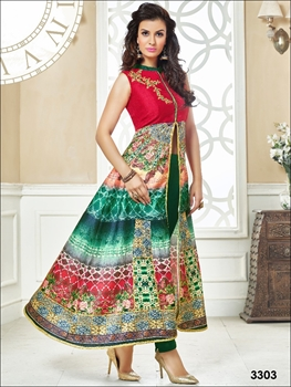 Picture of 3303Red and Green Designer Party Wear Kurti