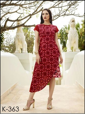 Picture of 363Bright Red and Maroon Designer Stitched Party Wear Kurti