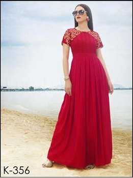 Picture of 356Red Designer Stitched Party Wear Kurti