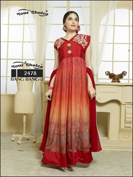 Picture of 2478Red Orange Anarkali Suit