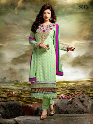 Picture of 6610Sea Green Designer Straight Suit