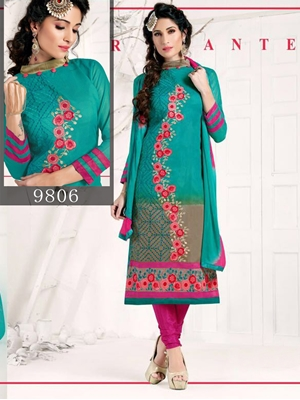 Picture of 9806 Peacock Green Designer Straight Suit