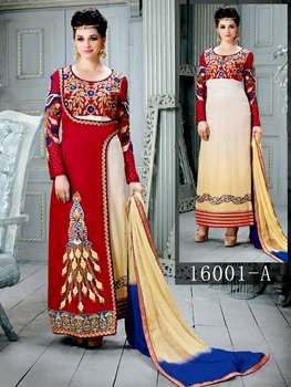 Picture of 16001A Red and Off White 2 In 1 Designer Straight Suit