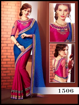 Picture of 1506Royal Blue And Deep pink Designer Saree