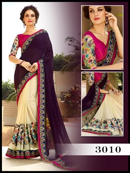 Picture of 3010Palatinate Purple And Off White Designer Saree