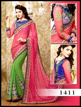 Picture of 1411Parrot Green and Pink Designer Saree