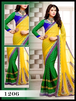 Picture of 1206Yellow and Green Designer Saree