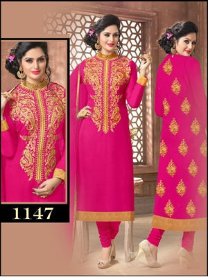 Picture of 1147Magenta Latest Occasional Wear Straight Suit