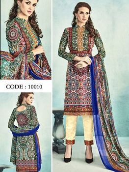 Picture of 10010Green and Multicolor Latest Fancy Salwar Suit